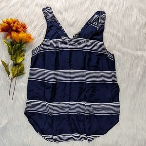 Lucky Brand Blue & White Striped Tank Top Size S